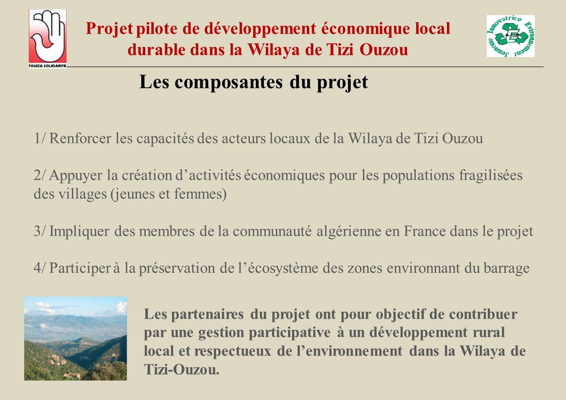 Les composantes du projet 1/ Renforcer les capacités des acteurs locaux de la Wilaya de Tizi Ouzou 2/ Appuyer la création d'activités économiques pour