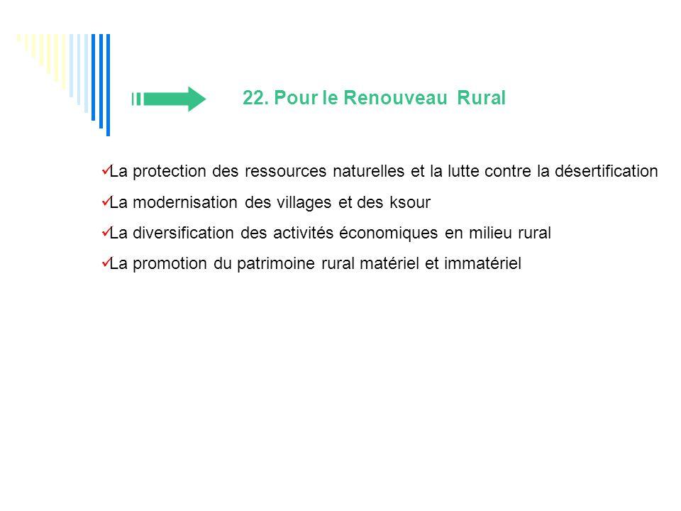 22. Pour le Renouveau Rural La protection des ressources naturelles et la lutte contre la désertification La modernisation des villages et des ksour L