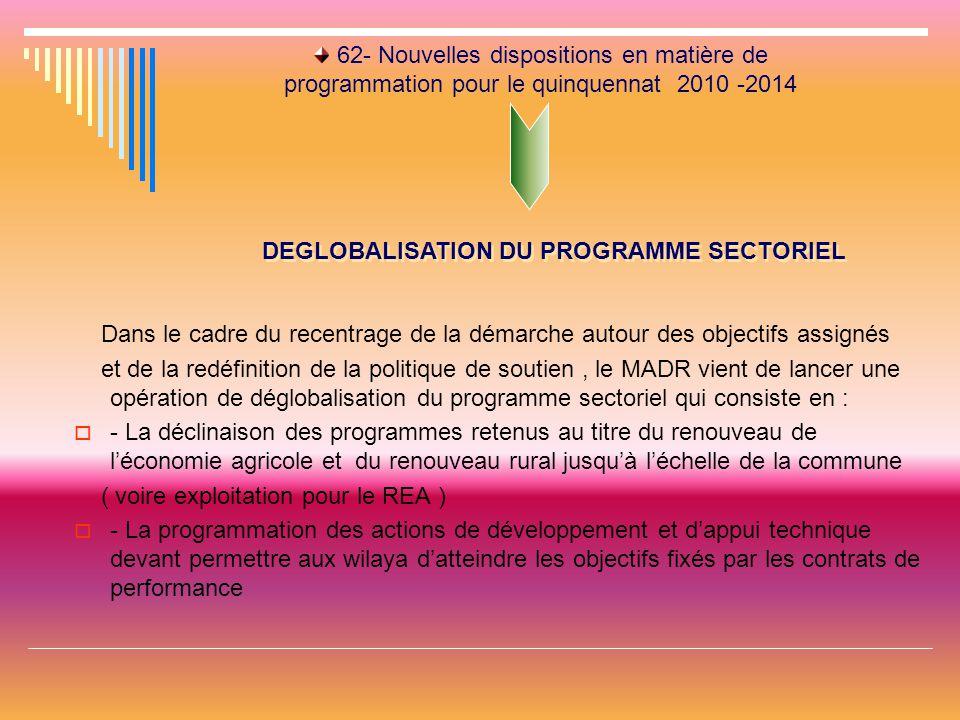 62- Nouvelles dispositions en matière de programmation pour le quinquennat 2010 -2014 Dans le cadre du recentrage de la démarche autour des objectifs assignés et de la redéfinition de la politique de soutien, le MADR vient de lancer une opération de déglobalisation du programme sectoriel qui consiste en :  - La déclinaison des programmes retenus au titre du renouveau de l'économie agricole et du renouveau rural jusqu'à l'échelle de la commune ( voire exploitation pour le REA )  - La programmation des actions de développement et d'appui technique devant permettre aux wilaya d'atteindre les objectifs fixés par les contrats de performance DEGLOBALISATION DU PROGRAMME SECTORIEL