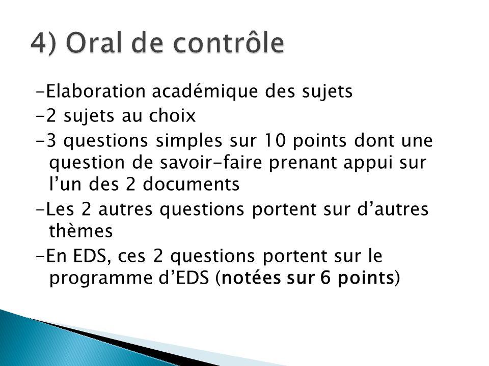 -Elaboration académique des sujets -2 sujets au choix -3 questions simples sur 10 points dont une question de savoir-faire prenant appui sur l'un des 2 documents -Les 2 autres questions portent sur d'autres thèmes -En EDS, ces 2 questions portent sur le programme d'EDS (notées sur 6 points)