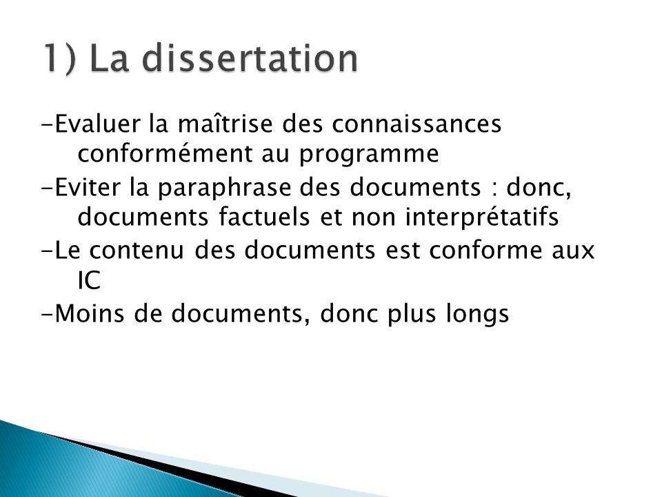 -Evaluer la maîtrise des connaissances conformément au programme -Eviter la paraphrase des documents : donc, documents factuels et non interprétatifs -Le contenu des documents est conforme aux IC -Moins de documents, donc plus longs