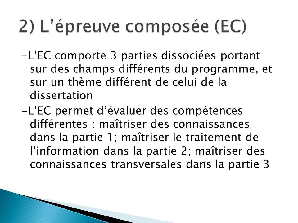 -L'EC comporte 3 parties dissociées portant sur des champs différents du programme, et sur un thème différent de celui de la dissertation -L'EC permet d'évaluer des compétences différentes : maîtriser des connaissances dans la partie 1; maîtriser le traitement de l'information dans la partie 2; maîtriser des connaissances transversales dans la partie 3