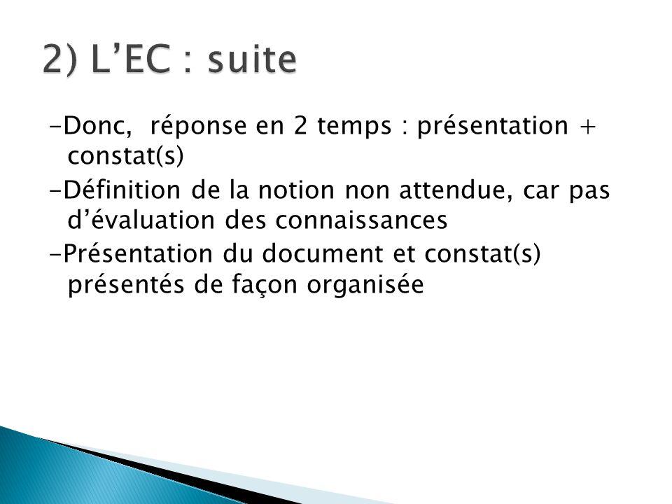 -Donc, réponse en 2 temps : présentation + constat(s) -Définition de la notion non attendue, car pas d'évaluation des connaissances -Présentation du document et constat(s) présentés de façon organisée