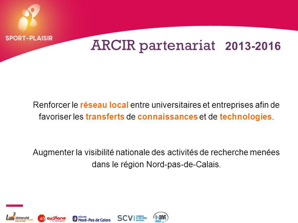 + ARCIR partenariat 2013-2016 Renforcer le réseau local entre universitaires et entreprises afin de favoriser les transferts de connaissances et de te