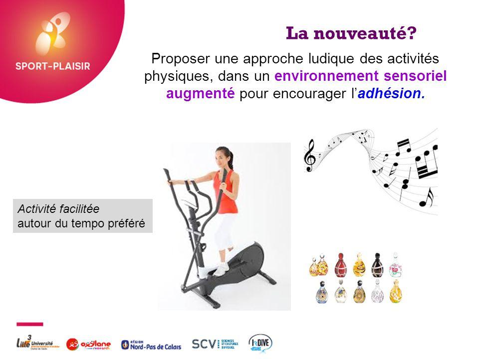 + La nouveauté? Activité facilitée autour du tempo préféré Proposer une approche ludique des activités physiques, dans un environnement sensoriel augm