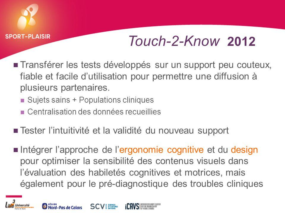 + Touch-2-Know 2012 Transférer les tests développés sur un support peu couteux, fiable et facile d'utilisation pour permettre une diffusion à plusieur