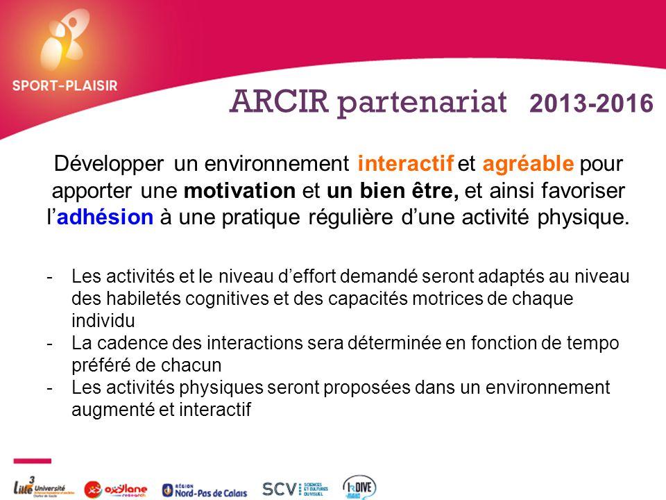 + ARCIR partenariat 2013-2016 Développer un environnement interactif et agréable pour apporter une motivation et un bien être, et ainsi favoriser l'ad
