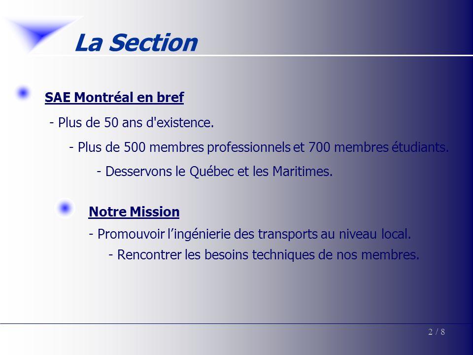 SAE Montréal en bref - Plus de 50 ans d'existence. - Plus de 500 membres professionnels et 700 membres étudiants. - Desservons le Québec et les Mariti