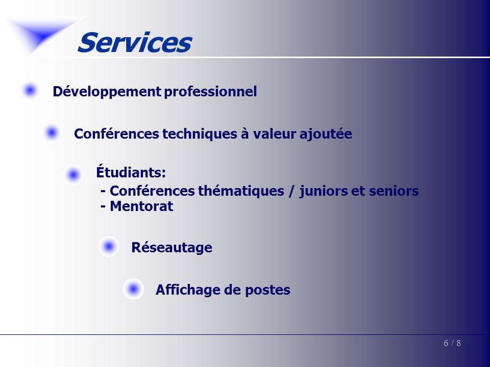 Services Développement professionnelConférences techniques à valeur ajoutée Étudiants: - Conférences thématiques / juniors et seniors - Mentorat 6/ 8 Affichage de postesRéseautage