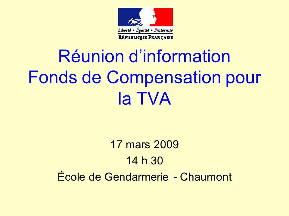 Le fonds de compensation pour la TVA Définition : Le Fonds de Compensation de la TVA (FCTVA) assure aux collectivités locales, à leurs groupements et aux établissements publics locaux, la compensation, à un taux forfaitaire (15,482 %), de la TVA dont elles s acquittent pour leurs dépenses d investissement.