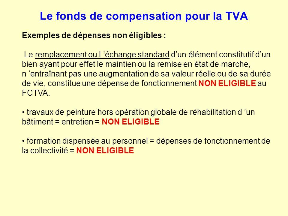 Le fonds de compensation pour la TVA Exemples de dépenses non éligibles : Le remplacement ou l 'échange standard d'un élément constitutif d'un bien ay