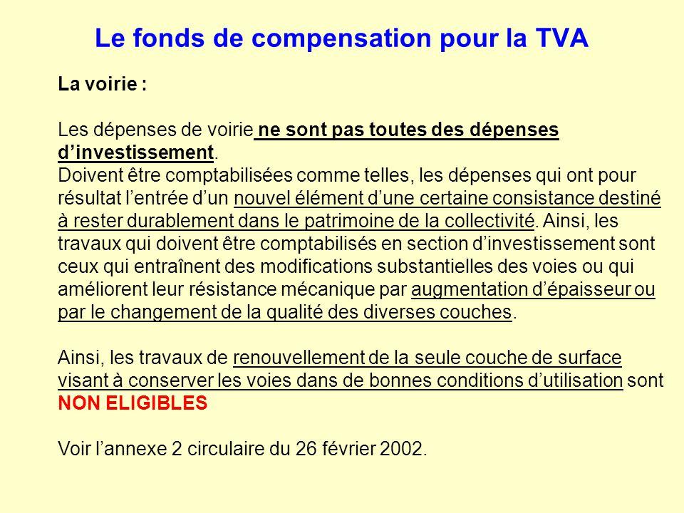 Le fonds de compensation pour la TVA La voirie : Les dépenses de voirie ne sont pas toutes des dépenses d'investissement. Doivent être comptabilisées
