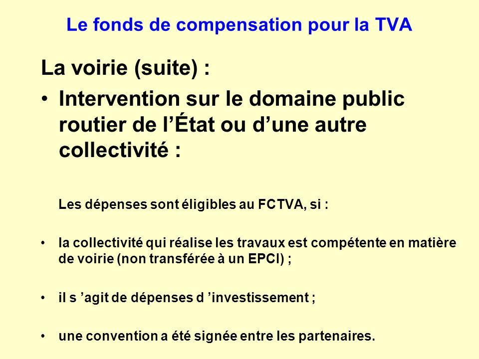 Le fonds de compensation pour la TVA La voirie (suite) : Intervention sur le domaine public routier de l'État ou d'une autre collectivité : Les dépens