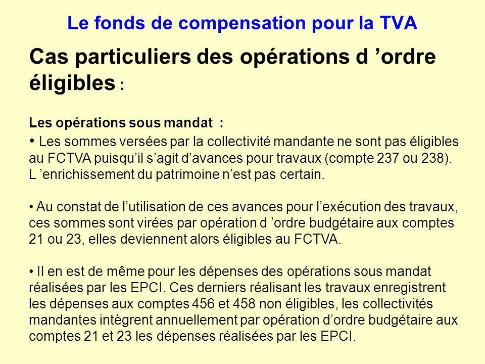 Le fonds de compensation pour la TVA Cas particuliers des opérations d 'ordre éligibles : Les opérations sous mandat : Les sommes versées par la colle