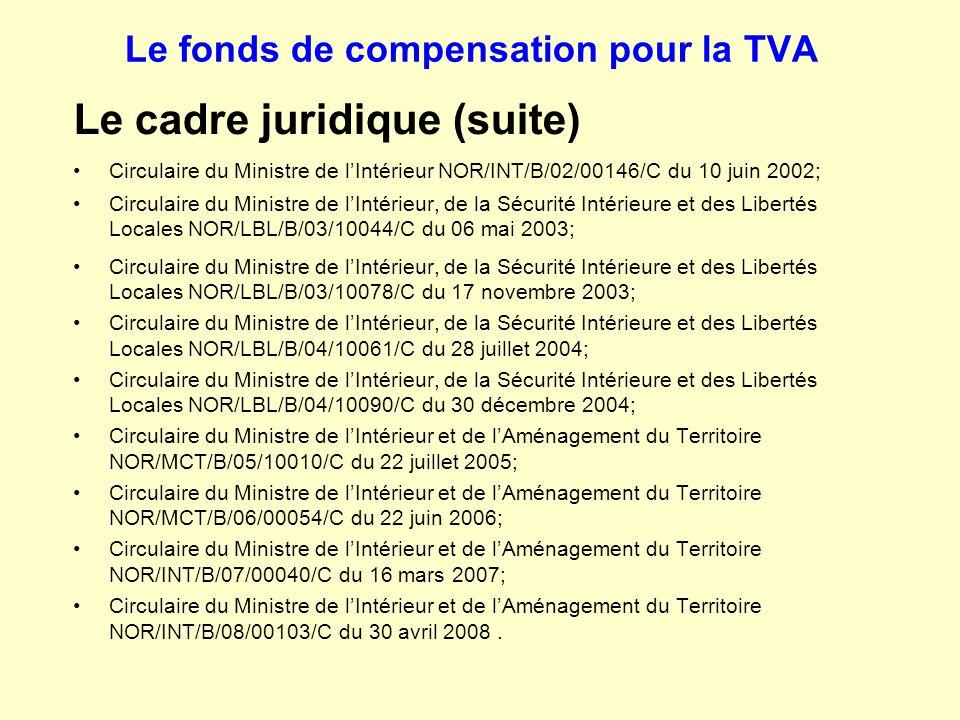 Le fonds de compensation pour la TVA Le cadre juridique (suite) Circulaire du Ministre de l'Intérieur NOR/INT/B/02/00146/C du 10 juin 2002; Circulaire