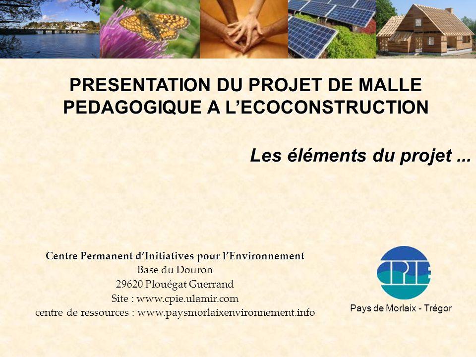 PRESENTATION DU PROJET DE MALLE PEDAGOGIQUE A L'ECOCONSTRUCTION Les éléments du projet... Centre Permanent d'Initiatives pour l'Environnement Base du
