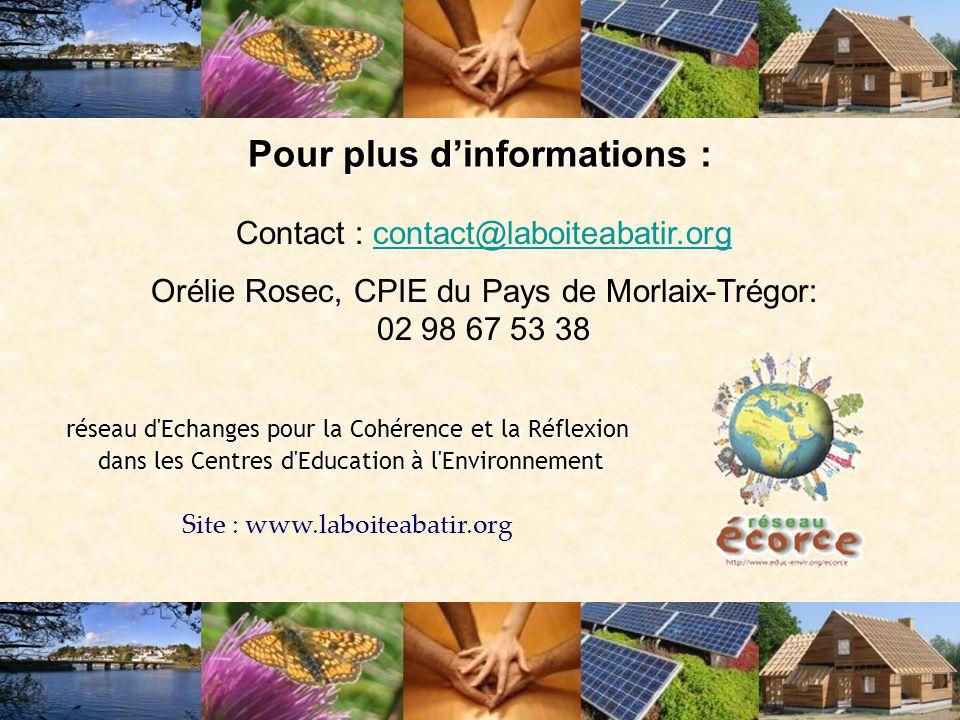 Pour plus d'informations : Contact : contact@laboiteabatir.orgcontact@laboiteabatir.org Orélie Rosec, CPIE du Pays de Morlaix-Trégor: 02 98 67 53 38 r