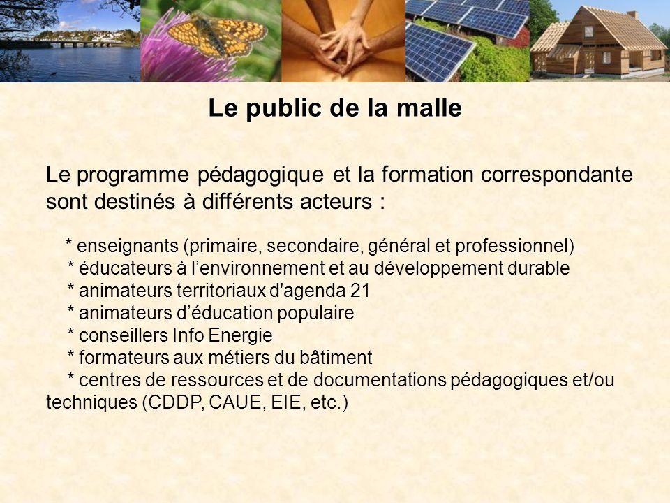 Le public de la malle Le programme pédagogique et la formation correspondante sont destinés à différents acteurs : * enseignants (primaire, secondaire