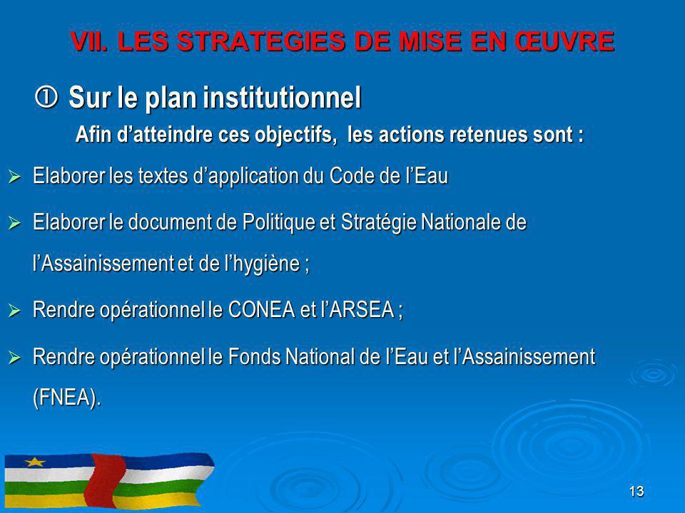  Sur le plan institutionnel Afin d'atteindre ces objectifs, les actions retenues sont :  Elaborer les textes d'application du Code de l'Eau  Elabor