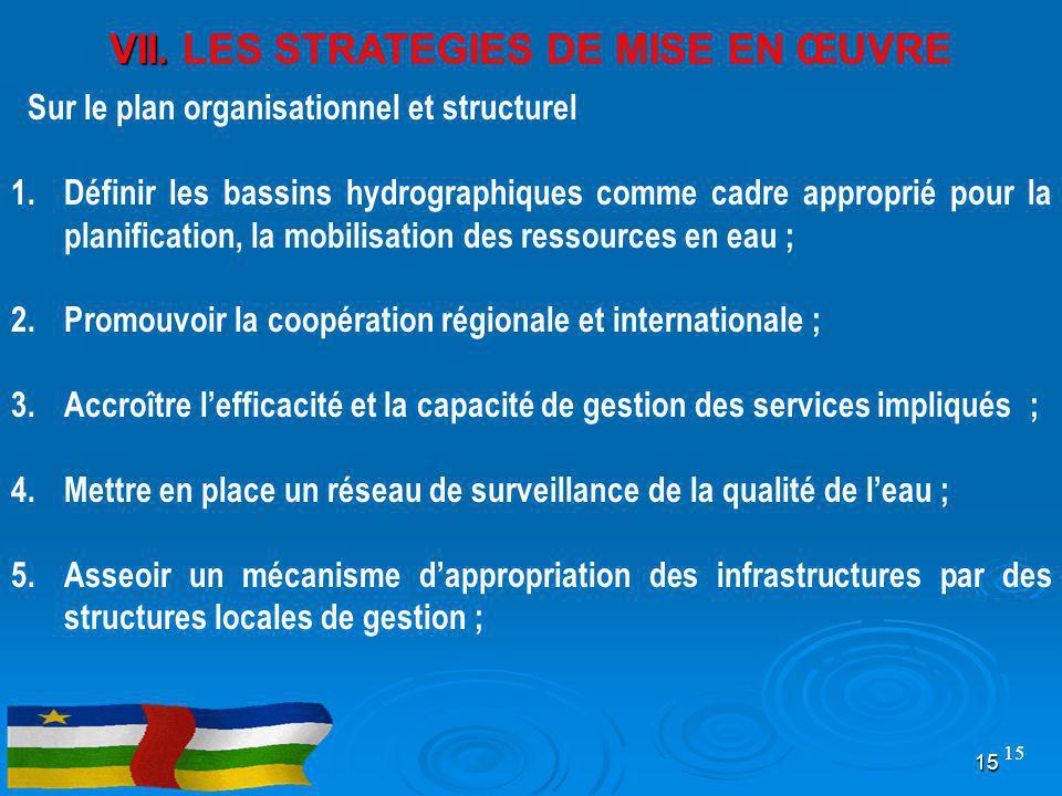 VII. VII. LES STRATEGIES DE MISE EN ŒUVRE Sur le plan organisationnel et structurel 1.Définir les bassins hydrographiques comme cadre approprié pour l