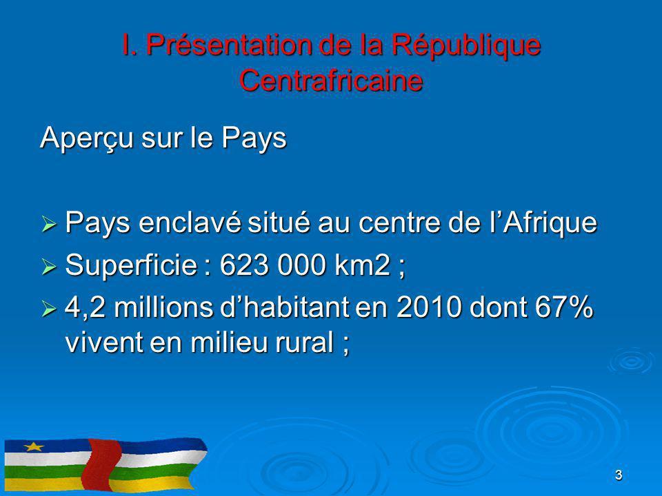 I. Présentation de la République Centrafricaine Aperçu sur le Pays  Pays enclavé situé au centre de l'Afrique  Superficie : 623 000 km2 ;  4,2 mill