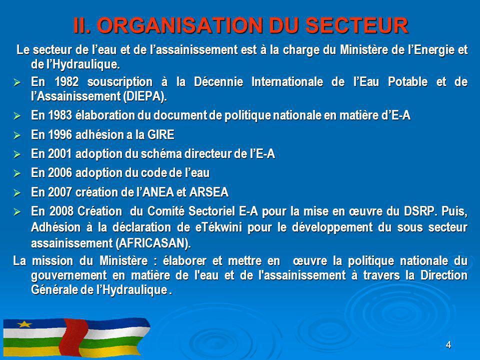 II. ORGANISATION DU SECTEUR Le secteur de l'eau et de l'assainissement est à la charge du Ministère de l'Energie et de l'Hydraulique. Le secteur de l'