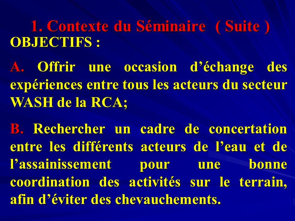 1. Contexte du Séminaire ( Suite ) OBJECTIFS : A.