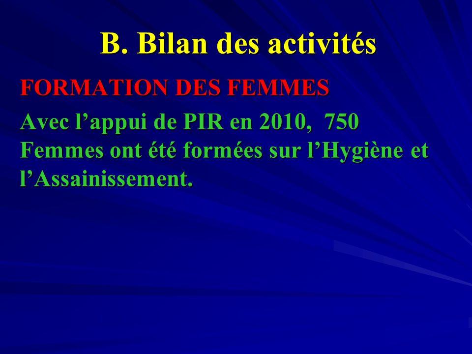 FORMATION DES FEMMES Avec l'appui de PIR en 2010, 750 Femmes ont été formées sur l'Hygiène et l'Assainissement.