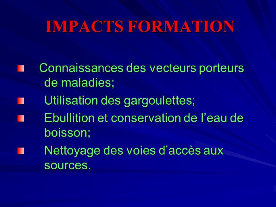 IMPACTS FORMATION IMPACTS FORMATION Connaissances des vecteurs porteurs de maladies; Utilisation des gargoulettes; Utilisation des gargoulettes; Ebullition et conservation de l'eau de boisson; Ebullition et conservation de l'eau de boisson; Nettoyage des voies d'accès aux sources.