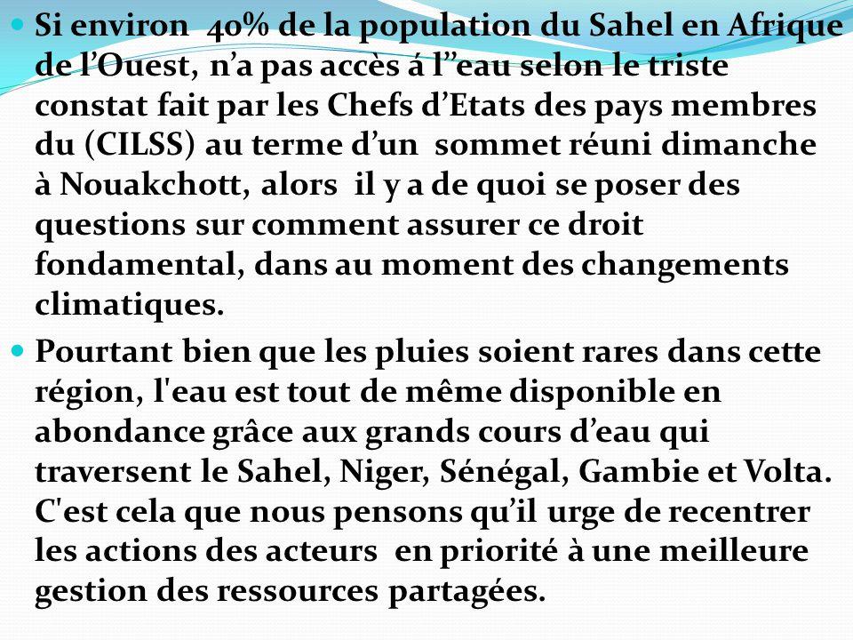 Si environ 40% de la population du Sahel en Afrique de l'Ouest, n'a pas accès á l''eau selon le triste constat fait par les Chefs d'Etats des pays mem