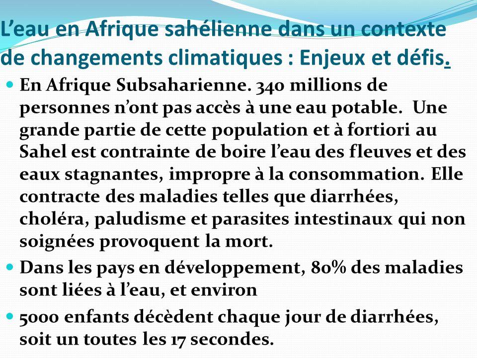 L'eau en Afrique sahélienne dans un contexte de changements climatiques : Enjeux et défis. En Afrique Subsaharienne. 340 millions de personnes n'ont p