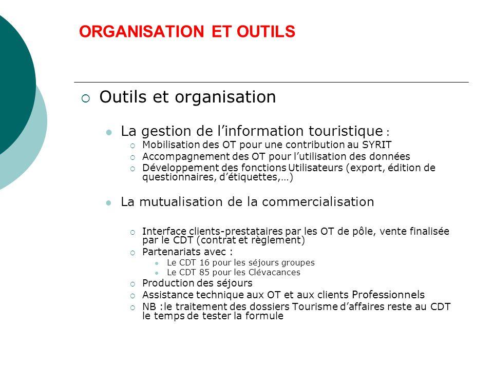 ORGANISATION ET OUTILS  Outils et organisation La gestion de l'information touristique :  Mobilisation des OT pour une contribution au SYRIT  Accompagnement des OT pour l'utilisation des données  Développement des fonctions Utilisateurs (export, édition de questionnaires, d'étiquettes,…) La mutualisation de la commercialisation  Interface clients-prestataires par les OT de pôle, vente finalisée par le CDT (contrat et règlement)  Partenariats avec : Le CDT 16 pour les séjours groupes Le CDT 85 pour les Clévacances  Production des séjours  Assistance technique aux OT et aux clients Professionnels  NB :le traitement des dossiers Tourisme d'affaires reste au CDT le temps de tester la formule