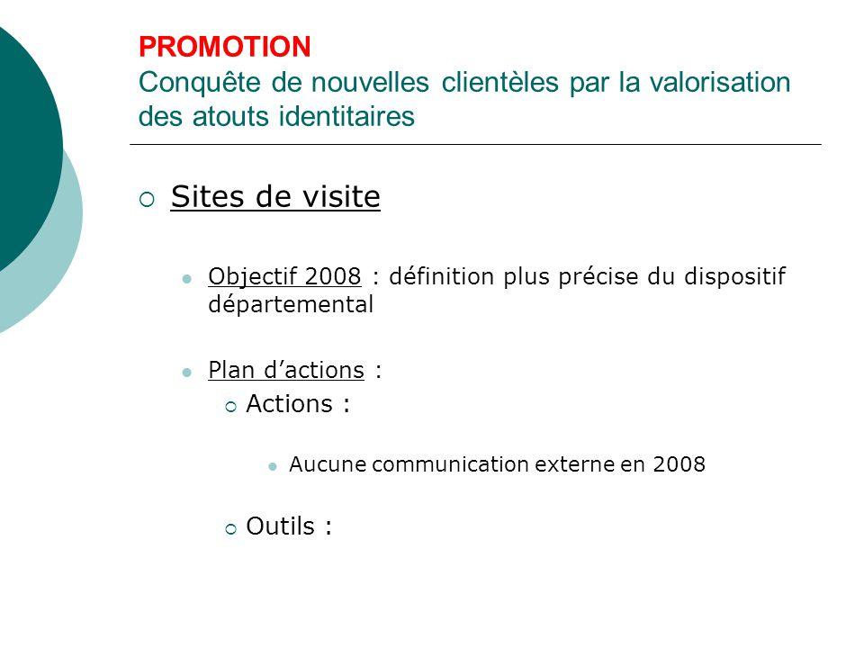 PROMOTION Conquête de nouvelles clientèles par la valorisation des atouts identitaires  Sites de visite Objectif 2008 : définition plus précise du dispositif départemental Plan d'actions :  Actions : Aucune communication externe en 2008  Outils :