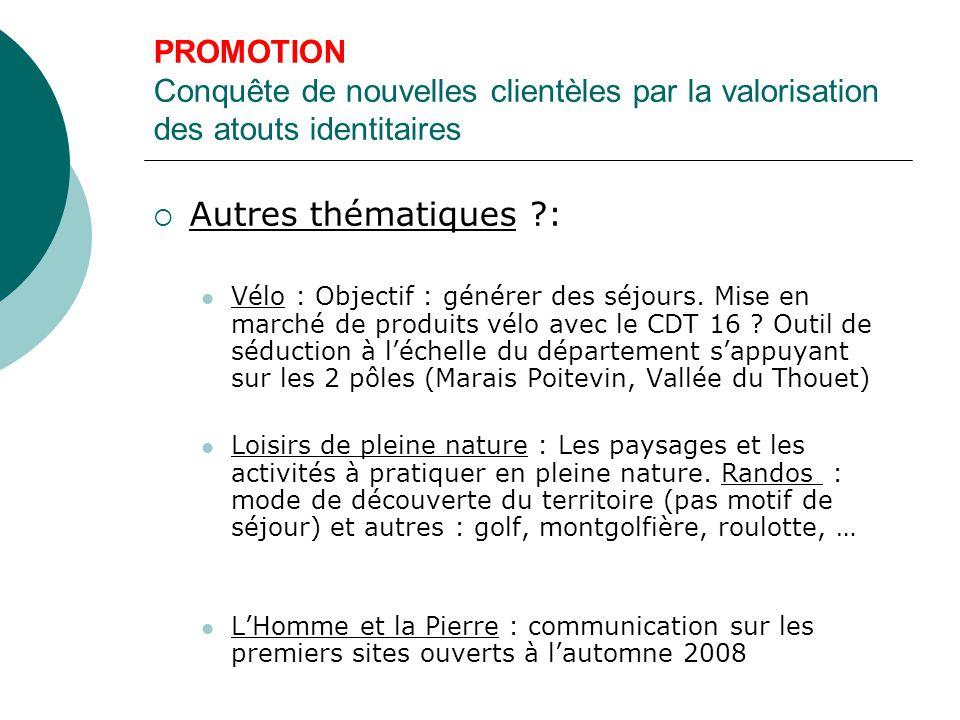 PROMOTION Conquête de nouvelles clientèles par la valorisation des atouts identitaires  Autres thématiques ?: Vélo : Objectif : générer des séjours.