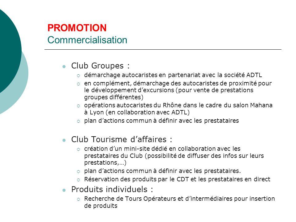 PROMOTION Commercialisation Club Groupes :  démarchage autocaristes en partenariat avec la société ADTL  en complément, démarchage des autocaristes de proximité pour le développement d'excursions (pour vente de prestations groupes différentes)  opérations autocaristes du Rhône dans le cadre du salon Mahana à Lyon (en collaboration avec ADTL)  plan d'actions commun à définir avec les prestataires Club Tourisme d'affaires :  création d'un mini-site dédié en collaboration avec les prestataires du Club (possibilité de diffuser des infos sur leurs prestations,…)  plan d'actions commun à définir avec les prestataires.
