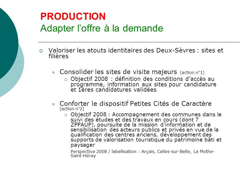 PRODUCTION Adapter l'offre à la demande  Valoriser les atouts identitaires des Deux- Sèvres : sites et filières Maintenir une offre touristique au bord de l'eau avec hébergements (action n° 3)  Objectif 2008 : informer les collectivités concernées sur des exemples réussis.