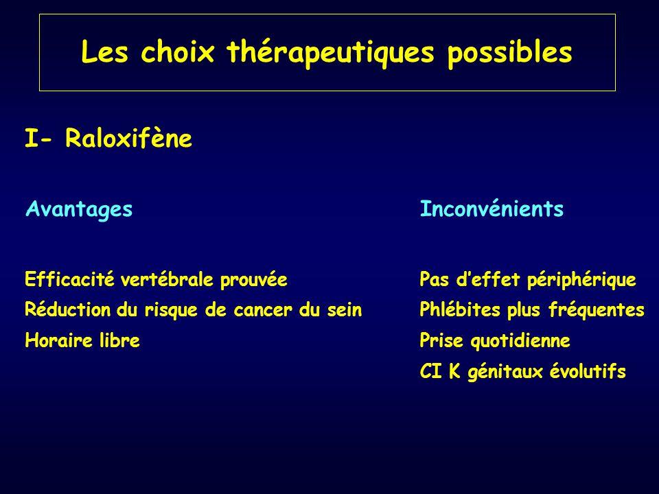 Les choix thérapeutiques possibles I- Raloxifène AvantagesInconvénients Efficacité vertébrale prouvéePas d'effet périphérique Réduction du risque de c