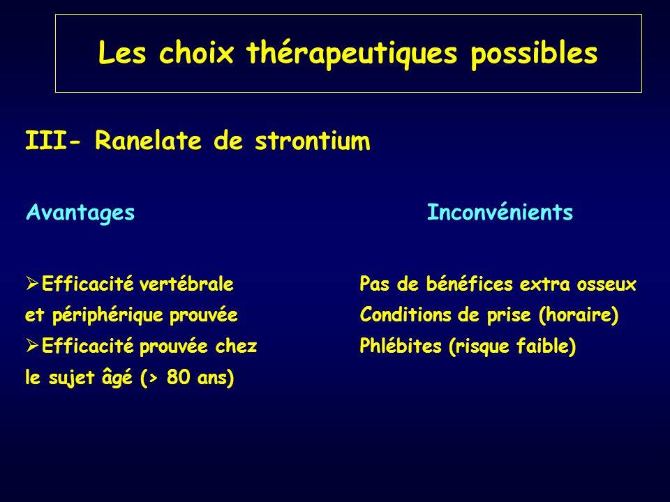 III- Ranelate de strontium AvantagesInconvénients  Efficacité vertébrale Pas de bénéfices extra osseux et périphérique prouvéeConditions de prise (ho