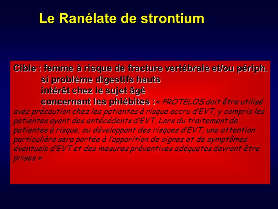 Le Ranélate de strontium Cible : femme à risque de fracture vertébrale et/ou périph. si problème digestifs hauts intérêt chez le sujet âgé concernant