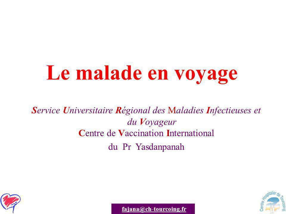 AJANA / SURMIV Diarrhée du voyageur 20-50% des voyageurs Cause : –ETEC +++, –Campylobacter, Salmonella, Shigella et Rotavirus Durée de la diarrhée : –< une semaine le plus souvent –> 2 semaines : 3 -10% –> un mois : 0,8 – 3% Diarrhée persistante –Parasitaire le plus souvent –ETEC –Post infectieuse : »Colon irritable »Révélation d'une MICI Travel Med.