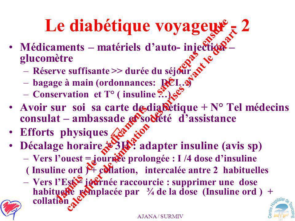 AJANA / SURMIV Le diabétique voyageur -1 Départ = accord du médecin traitant Diabète équilibré, complications contrôlées Le diabétique : une vie de «