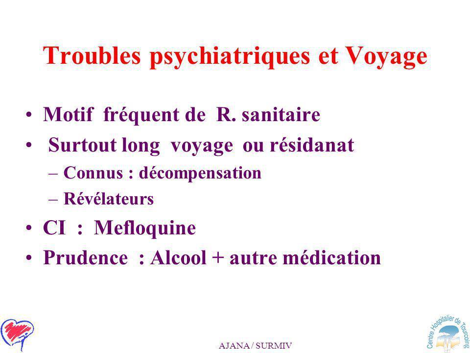 AJANA / SURMIV Le senior malade voyageur > 65 ans, co-pathologies Vaccination : FJ réserves > 65 ans Insuffisant rénal : –Antipaludiques / posologies