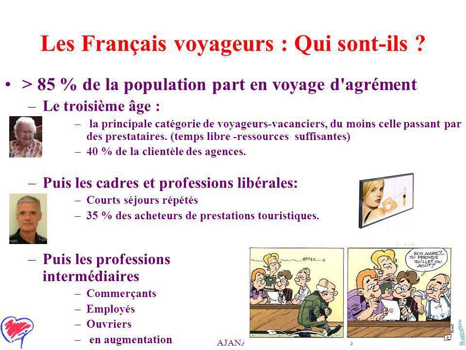 AJANA / SURMIV > 85 % de la population part en voyage d agrément –Le troisième âge : – la principale catégorie de voyageurs-vacanciers, du moins celle passant par des prestataires.