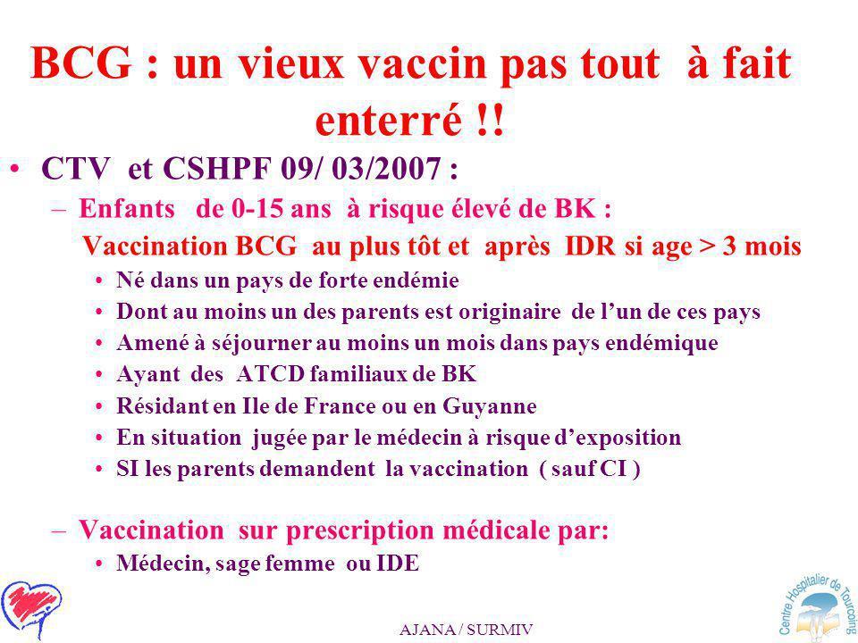 AJANA / SURMIV BCG : un vieux vaccin pas tout à fait enterré !! CTV et CSHPF 09/ 03/2007 : –Suppression de l'obligation du BCG chez l'enfant et l'adol