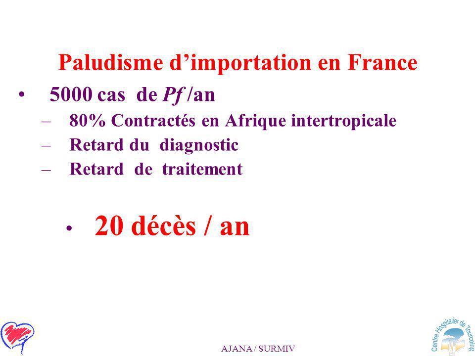 AJANA / SURMIV Prise en charge du paludisme d'importation à Plasmodium falciparum Recommandations 10/2007