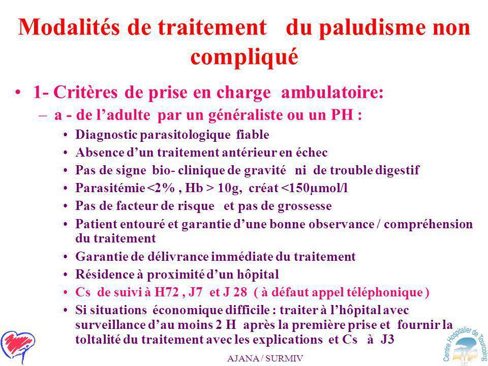 Modalités de traitement du paludisme non compliqué 2 - 1ère ligne : – atovaquone – proguanil ou arthemeter – luméfantrine 2 ème ligne : –méfloquine ou