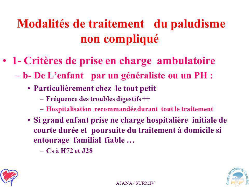 AJANA / SURMIV Modalités de traitement du paludisme non compliqué 1- Critères de prise en charge ambulatoire: –a - de l'adulte par un généraliste ou u