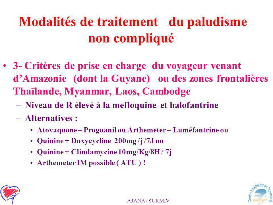 AJANA / SURMIV Modalités de traitement du paludisme non compliqué 2- Critères de prise en charge de la femme enceinte : –Surveillance obstétricale néc