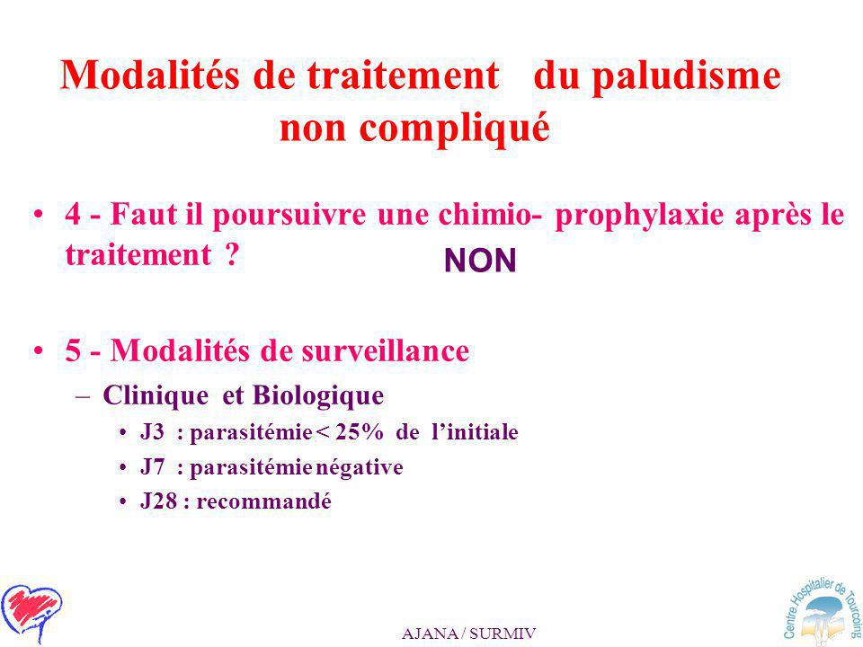AJANA / SURMIV Modalités de traitement du paludisme non compliqué 3- Critères de prise en charge du voyageur venant d'Amazonie (dont la Guyane) ou des
