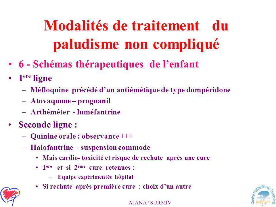 AJANA / SURMIV Modalités de traitement du paludisme non compliqué 4 - Faut il poursuivre une chimio- prophylaxie après le traitement ? 5 - Modalités d